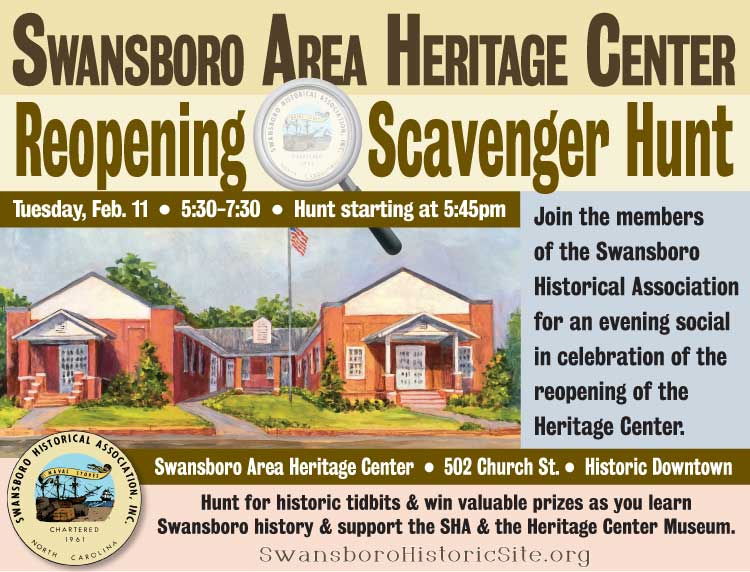 Swansboro Area Heritage Center Re-opening & Scavenger Hunt